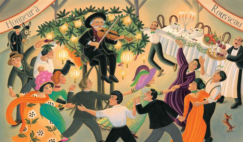 Banquete en honor del pintor Henri Rousseau (ilustración de Amanda Hall)